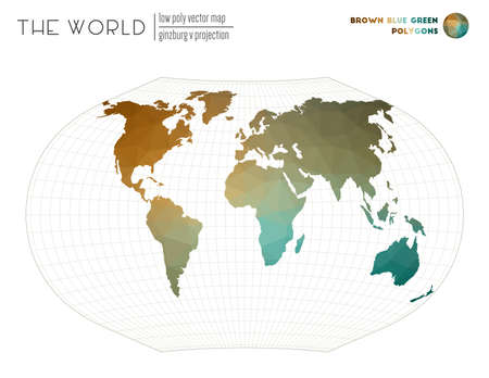Vector map of the world. Ginzburg V projection of the world. Brown Blue Green colored polygons. Trending vector illustration.