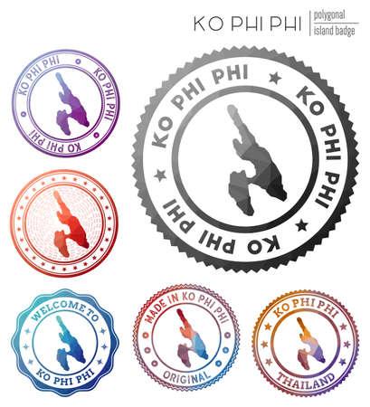 Ko Phi Phi badge. Colorful polygonal island symbol. Multicolored geometric Ko Phi Phi logos set. Vector illustration. 일러스트