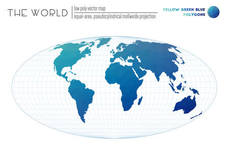 Low poly design of the world. Equal-area, pseudocylindrical Mollweide projection of the world. Yellow Green Blue colored polygons. Modern vector illustration.