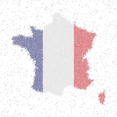 Map of France. Mosaic style map with flag of France. Vector illustration. 일러스트