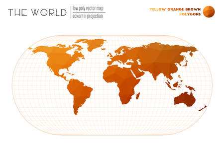 World map with vibrant triangles. Eckert III projection of the world. Yellow Orange Brown colored polygons. Modern vector illustration. 일러스트
