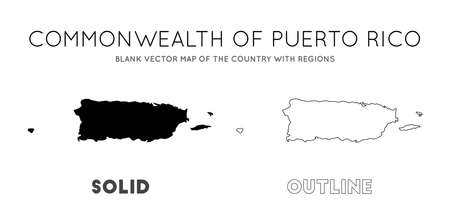 Puerto Rico map. Blank vector map of the Country with regions. Borders of Puerto Rico for your infographic. Vector illustration.