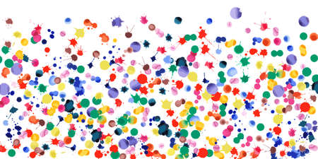 Watercolor confetti on white background. Rainbow colored blobs wide gradient. Colorful bright hand painted illustration. Happy celebration party background. Admirable vector illustration.