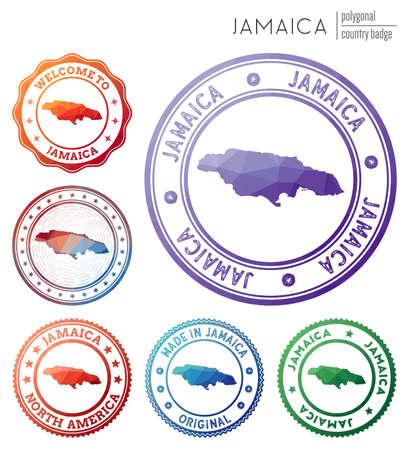 Jamaica badge. Colorful polygonal country symbol. Multicolored geometric Jamaica logos set. Vector illustration.