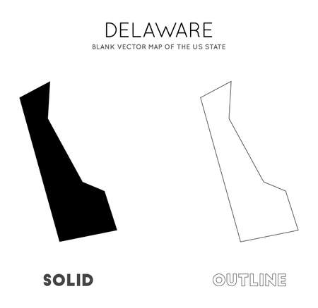 Delaware map. Blank vector map of the Us State. Borders of Delaware for your infographic. Vector illustration. Иллюстрация