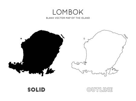 Lombok map. Blank vector map of the Island. Borders of Lombok for your infographic. Vector illustration. Illustration