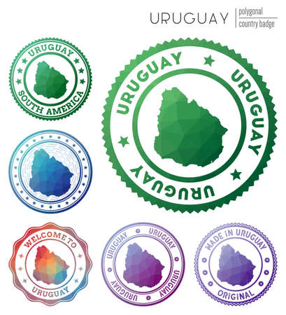 Uruguay badge. Colorful polygonal country symbol. Multicolored geometric Uruguay logos set. Vector illustration.