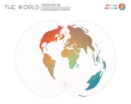 Polygonal world map. American polyconic projection of the world. Spectral colored polygons. Elegant vector illustration. Ilustração