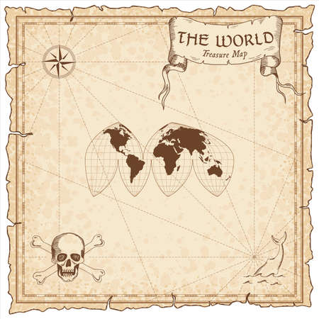 World treasure map. Pirate navigation atlas. Boggs interrupted eumorphic projection. Old map vector.