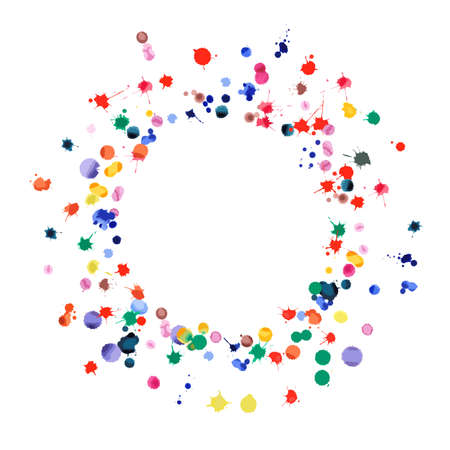 Watercolor confetti on white background. Rainbow colored blobs square vignette. Colorful bright hand painted illustration. Happy celebration party background. Ecstatic vector illustration. Stock fotó - 130686714