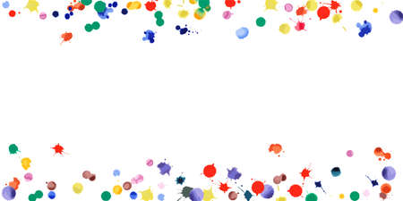 Watercolor confetti on white background. Rainbow colored blobs wide border. Colorful bright hand painted illustration. Happy celebration party background. Fascinating vector illustration. Stock fotó - 130686634