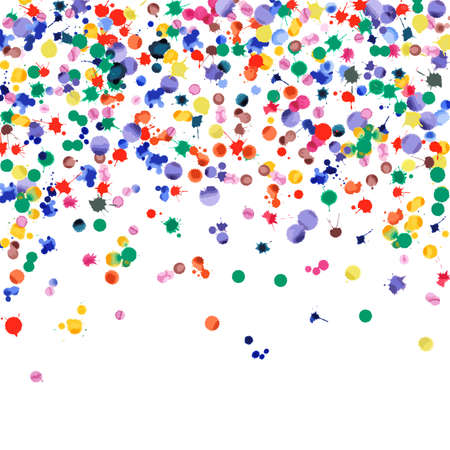 Watercolor confetti on white background. Rainbow colored blobs square falling rain. Colorful bright hand painted illustration. Happy celebration party background. Majestic vector illustration.