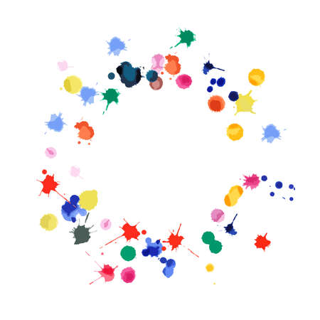 Watercolor confetti on white background. Rainbow colored blobs square vignette. Colorful bright hand painted illustration. Happy celebration party background. Elegant vector illustration. Stock fotó - 130677948