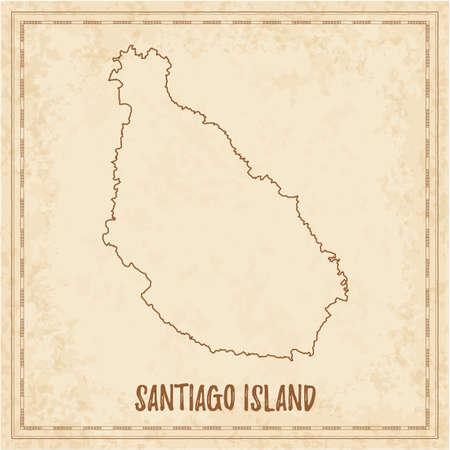 Pirate map of Santiago Island. Blank vector map of the Island. Vector illustration. Vektoros illusztráció