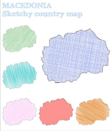 Macedonia sketchy country. Ravishing hand drawn country. Remarkable childish style Macedonia vector illustration.