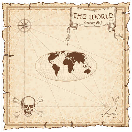 World treasure map. Pirate navigation atlas. Equal-area, pseudocylindrical Mollweide projection. Old map vector. Illusztráció