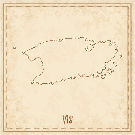 Pirate map of Vis. Blank vector map of the Island. Vector illustration.