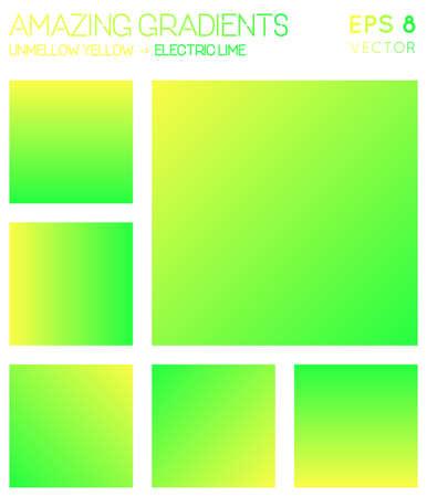 Colorful gradients in laser lemon, electric lime color tones. Actual gradient background, unusual vector illustration.