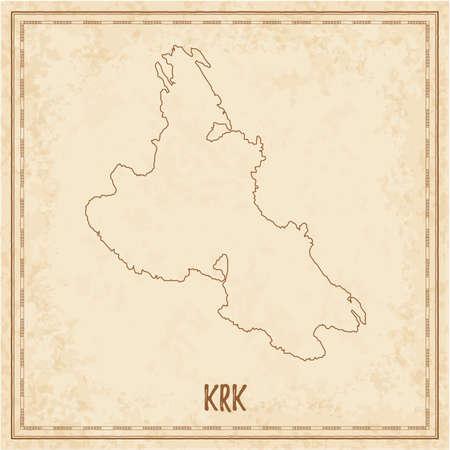Pirate map of Krk. Blank vector map of the Island. Vector illustration. Vektoros illusztráció