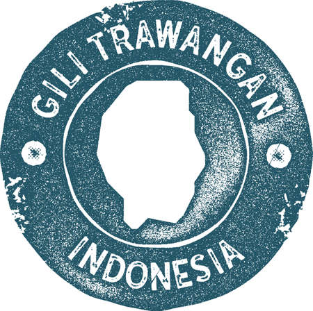 Gili Trawangan map vintage stamp. Retro style handmade label, badge or element for travel souvenirs. Blue rubber stamp with island map silhouette. Vector illustration.
