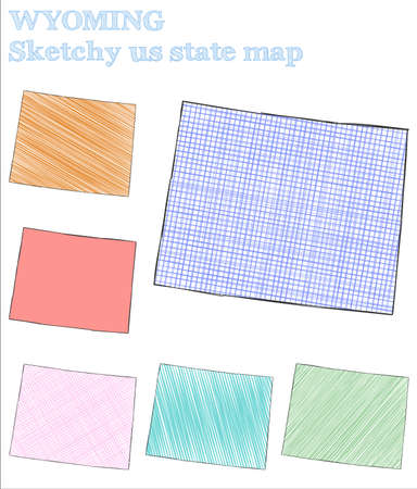 Wyoming sketchy us state. Outstanding hand drawn us state. Sublime childish style Wyoming vector illustration.
