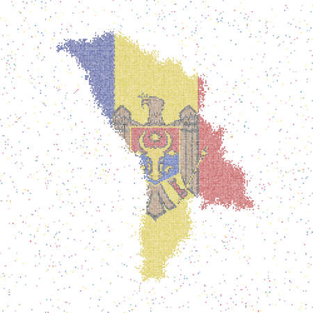 Map of Moldova. Mosaic style map with flag of Moldova. Vector illustration.