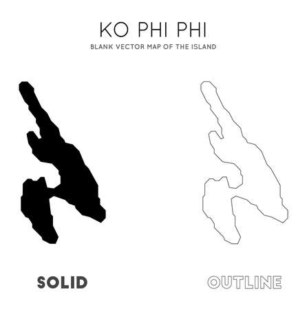 Ko Phi Phi map. Blank vector map of the Island. Borders of Ko Phi Phi for your infographic. Vector illustration.