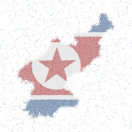 Map of North Korea. Mosaic style map with flag of North Korea. Vector illustration. Ilustração