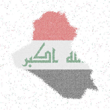 Map of Republic of Iraq. Mosaic style map with flag of Republic of Iraq. Vector illustration.