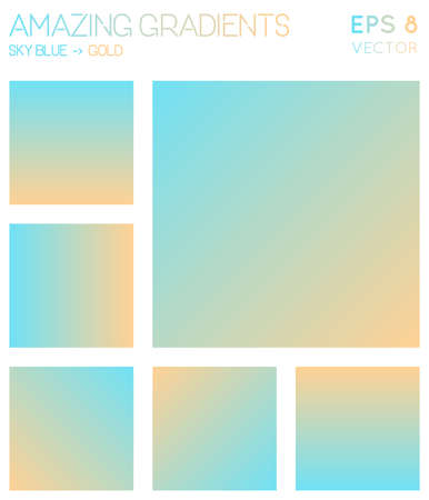 Colorful gradients in sky blue, gold color tones. Actual gradient background, tempting vector illustration.