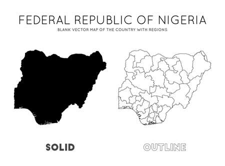 Nigeria map. Blank vector map of the Country with regions. Borders of Nigeria for your infographic. Vector illustration.