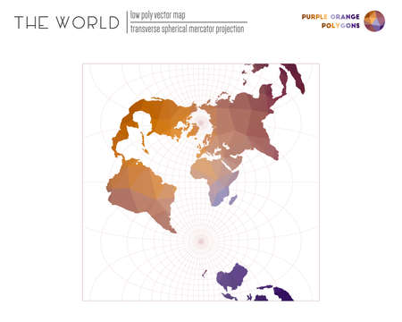 World map in polygonal style. Transverse spherical Mercator projection of the world. Purple Orange colored polygons. Neat vector illustration.