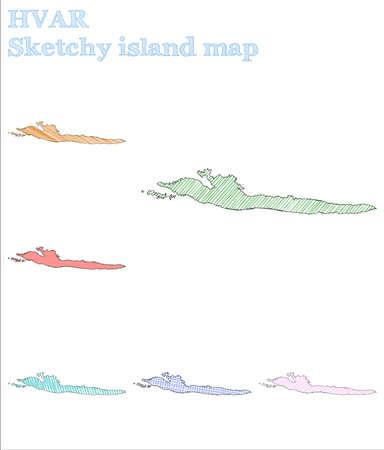 Hvar sketchy island. Quaint hand drawn island. Rare childish style Hvar vector illustration. Ilustração