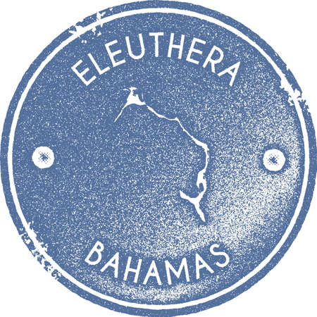 Eleuthera map vintage stamp. Retro style handmade label, badge or element for travel souvenirs. Light blue rubber stamp with island map silhouette. Vector illustration.