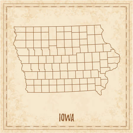 Pirate map of Iowa. Blank vector map of the Us State with counties. Vector illustration.