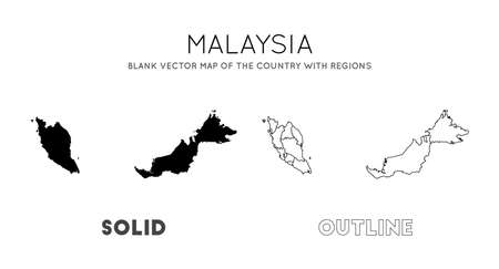 Malaysia map. Blank vector map of the Country with regions. Borders of Malaysia for your infographic. Vector illustration. Çizim