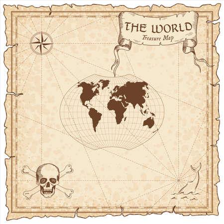 World treasure map. Pirate navigation atlas. Ginzburg VI projection. Old map vector.