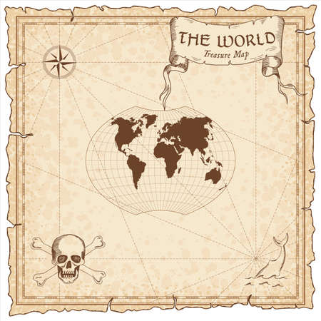 World treasure map. Pirate navigation atlas. Ginzburg VI projection. Old map vector.