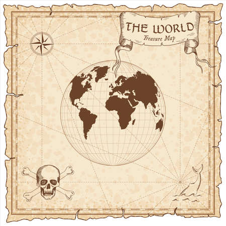 World treasure map. Pirate navigation atlas. Gilberts two-world perspective projection. Old map vector.