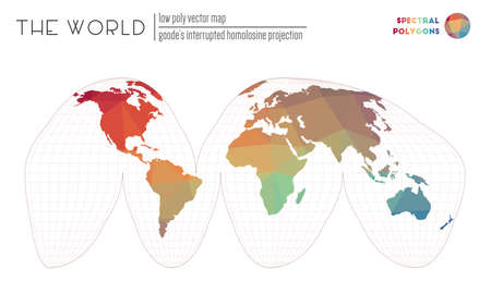Abstract world map. Goodes interrupted homolosine projection of the world. Spectral colored polygons. Modern vector illustration. Ilustração