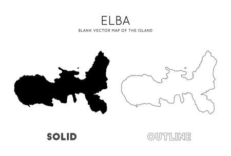 Elba map. Blank vector map of the Island. Borders of Elba for your infographic. Vector illustration.