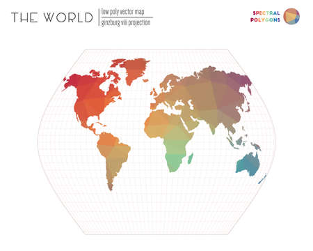 World map in polygonal style. Ginzburg VIII projection of the world. Spectral colored polygons. Stylish vector illustration.