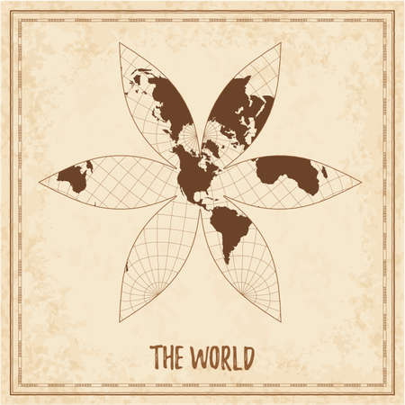 Old world map. The U.S.-centric Gingery world projection. Medieval style treasure map. Ancient land navigation atlas. Vector illustration. Illusztráció
