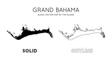 Grand Bahama map. Blank vector map of the Island. Borders of Grand Bahama for your infographic. Vector illustration.