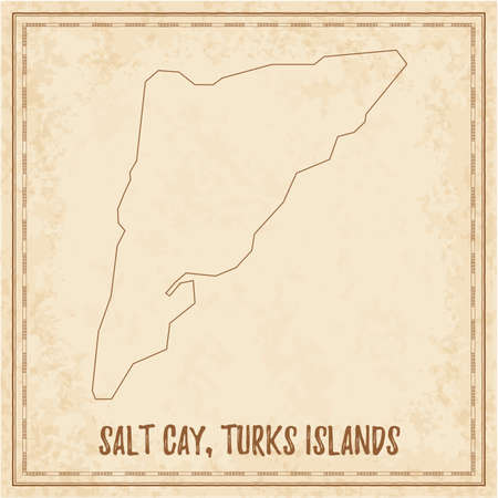Pirate map of Salt Cay, Turks Islands. Blank vector map of the Island. Vector illustration.  イラスト・ベクター素材