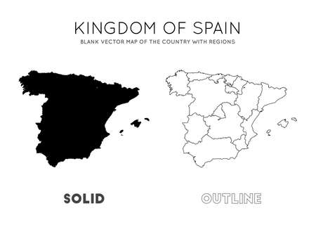 Spain map. Blank vector map of the Country with regions. Borders of Spain for your infographic. Vector illustration.