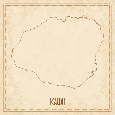 Pirate map of Kauai. Blank vector map of the Island. Vector illustration.