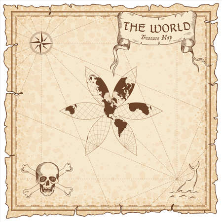World treasure map. Pirate navigation atlas. The U.S.-centric Gingery world projection. Old map vector.