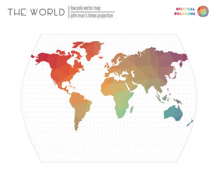 Polygonal world map. John Muirs Times projection of the world. Spectral colored polygons. Contemporary vector illustration.