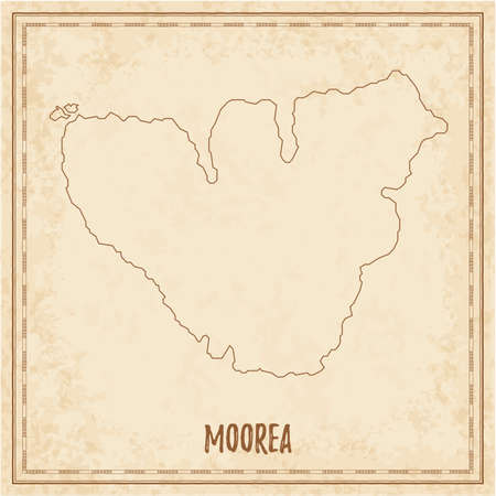 Pirate map of Moorea. Blank vector map of the Island. Vector illustration.